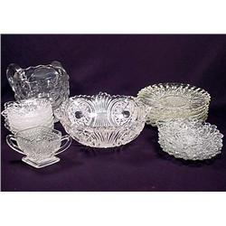 LARGE LOT OF FOSTORIA GLASSWARE - Plates, Pitcher,