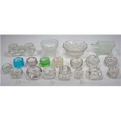 LOT OF VINTAGE SALTS - Incl. Colored Glass, Small