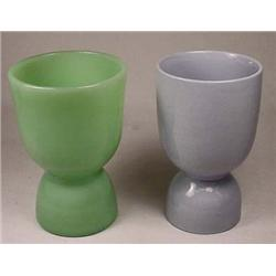 LOT OF 2 VINTAGE EGG CUPS - JADEITE AND MADE IN EN