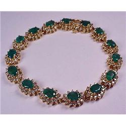 14K GOLD LADIES EMERALD AND DIAMOND BRACELET - Com