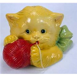 VINTAGE DEVON WARE CHALKWARE KITTEN STRING HOLDER