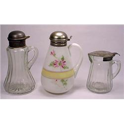 LOT OF 3 VINTAGE SYRUP PITCHERS