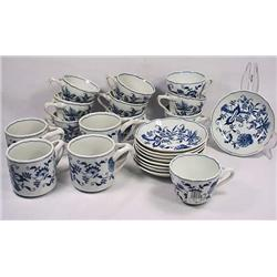 LOT OF 14 BLUE DANUBE CUPS AND 9 SAUCERS - 2 Diffe