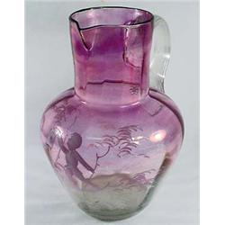 VINTAGE AMETHYST AND CLEAR GLASS PITCHER - POSS. M