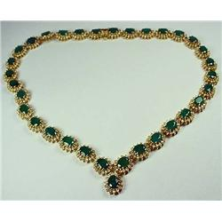 14KT GOLD LADIES EMERALD AND DIAMOND NECKLACE - Co