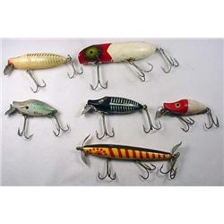 LOT OF 6 VINTAGE WOODEN FISHING LURES - Incl. Sout