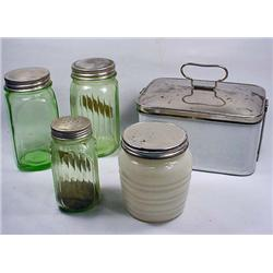 LOT OF VINTAGE KITCHEN ITEMS - INCL. GREEN DEPRESS