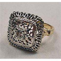 VINTAGE 14K GOLD DIAMOND RING - Beautiful Fiiligre