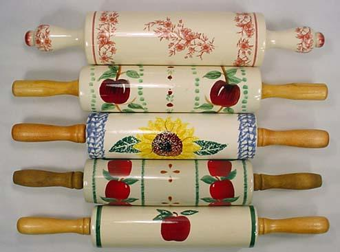Lot Of 5 Rolling Pins Decorative Designs Apple