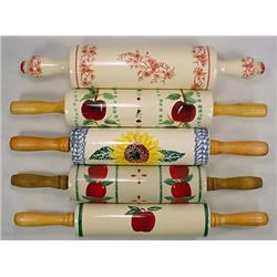 LOT OF 5 ROLLING PINS - DECORATIVE DESIGNS - Apple