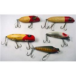 LOT OF 5 VINTAGE WOODEN FISHING LURES - INCL. HEDD