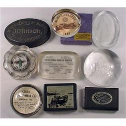 LOT OF 9 VINTAGE PAPERWEIGHTS - INCL. ADVERTISING