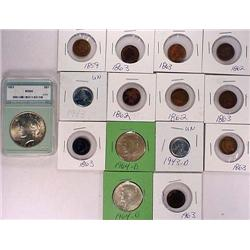 LOT OF 15 US COINS - INCL. PEACE SILVER DOLLAR - 1