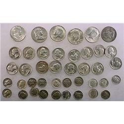 9 DOLLARS FACE VALUE IN US SILVER COINS - 90%  196
