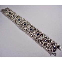 14KT WHITE GOLD LADIES SAPPHIRE AND DIAMOND BELLE