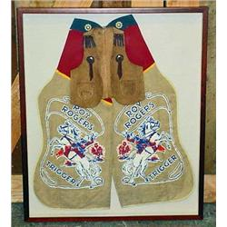 VINTAGE ROY ROGERS CHILD'S CHAPS AND VEST IN FRAME