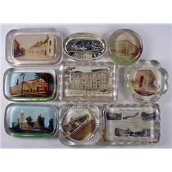 LOT OF 9 VINTAGE PAPERWEIGHTS - INCL. PHOTOS, ADVE