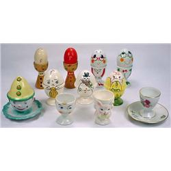 LOT OF 11 VINTAGE EGG CUPS - Incl. Clown Marked It