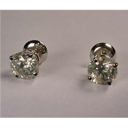 PAIR OF 14KT WHITE GOLD AND DIAMOND SOLITAIRE EARR
