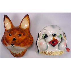 2 VINTAGE STRING HOLDERS - PUPPY AND FOX - *2 TIME