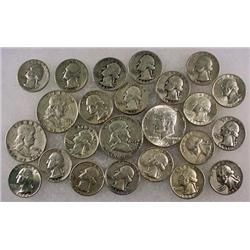 7 DOLLARS FACE VALUE IN US SILVER COINS - 90%  196