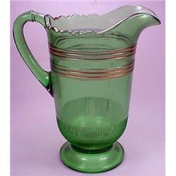 VICTORIAN ERA GREEN GLASS PITCHER W/ GOLD ACCENTS