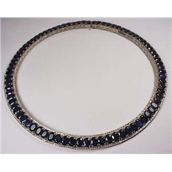 14KT WHITE GOLD SAPPHIRE AND DIAMOND COLLAR STYLE