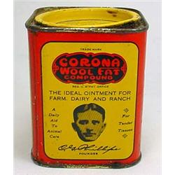 VINTAGE CORONA WOOL FAT ADVERTISING TIN - FARM AND