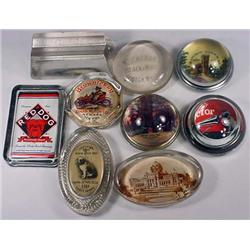 LOT OF 9 VINTAGE ADVERTISING PAPERWEIGHTS - Incl.