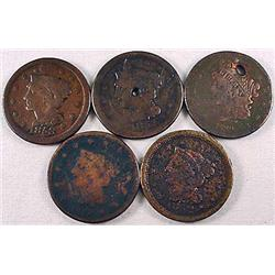 LOT OF 5 US LARGE CENTS - 1839, 1841, 1851, 1852,