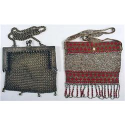 LOT OF 2 VINTAGE PURSES - 1 GERMAN SILVER MESH - A
