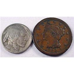 LOT OF 2 US COINS - 1852 Large Cent and 1916-D Buf
