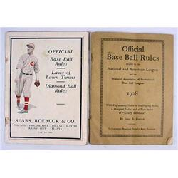 LOT OF 2 C. 1920'S OFFICIAL BASEBALL RULES BOOKLET