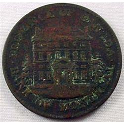 1844 CANADIAN BANK TOKEN - Montreal Bank Half Cent