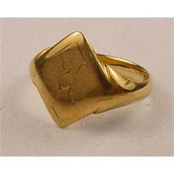 VINTAGE GOLD COLORED SIGNET RING - Marked on the i
