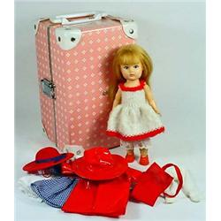 VINTAGE GINNY DOLL W/ SUITCASE AND CLOTHING