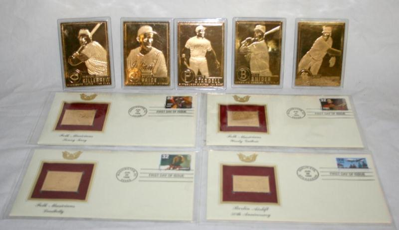 Lot Of Gold Plated Baseball Cards Stamps
