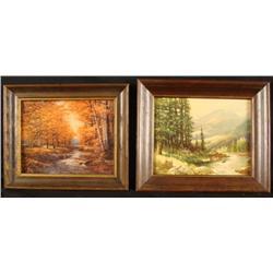 2 Vintage Forest Nature Art Prints Framed R Woods