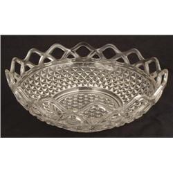 Elegant Basket Style Vintage Molded Glass Fruit Bowl