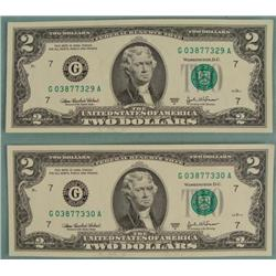 2) 2003 A Consec # Two Dollar Bills $2 Notes G Mint IL