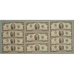 11 Diff Mint Mark 1976 $2 Bills Notes A-L (no K) Nice