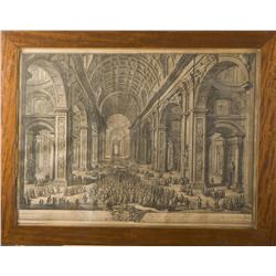 GIUSEPPE VASI (1710-1782) Two engravings of the St. Peter and the St. Peter Square in Rome