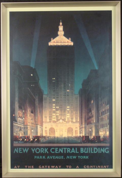 Art Deco Poster New York.New York Central Building Art Deco Train Poster
