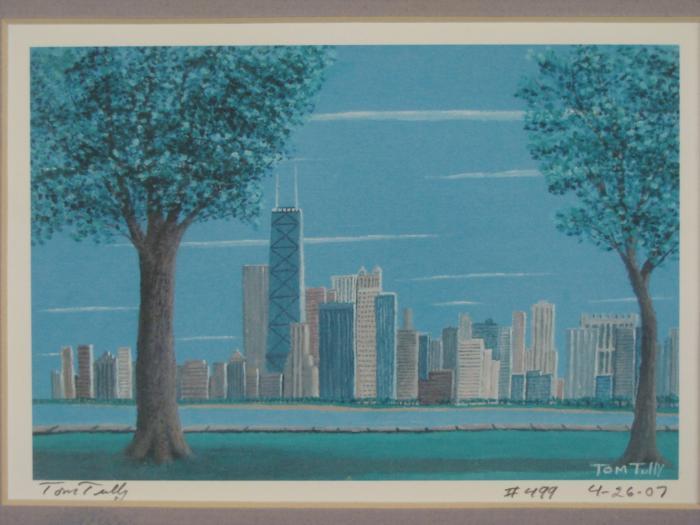 e212147540f ... Image 2   2 Chicago Skyline Art Prints Tom Tully Signed Framed ...