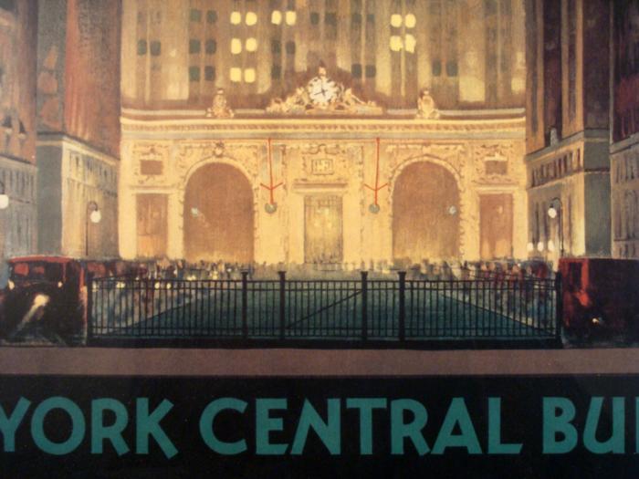Art Deco Poster New York.New York Central Building Art Deco Train Framed Poster