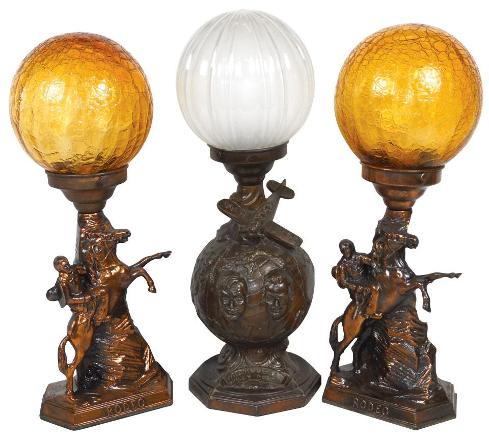 "Roy Rogers Rodeo Lamps W/globes, 16""H & Will Rogers Wiley"
