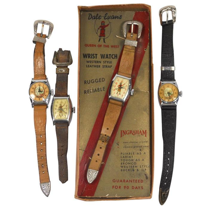 Dale Evans watches (4), Ingraham wrist watch in box (no lid), shows  standing Dale, another w/same fa