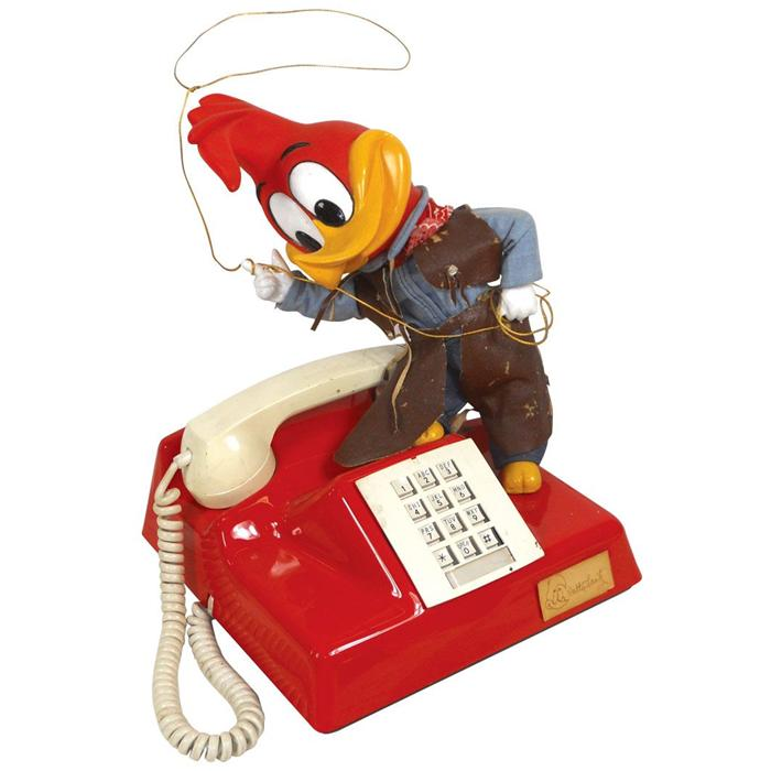 Woody Woodpecker prototype cowboy telephone, hard plastic push button phone  w/hand-painted features