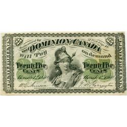 DOMINION OF CANADA.  25 Cents.  March 1, 1870.  DC-1b.  Large 'B'  Very Fine.