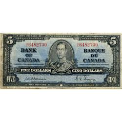 BANK OF CANADA.  $5.00.  1937 Issue.  BC-23a.  Osborne.  No. A/C6482730,  A/C7656421,  A/C8152284.